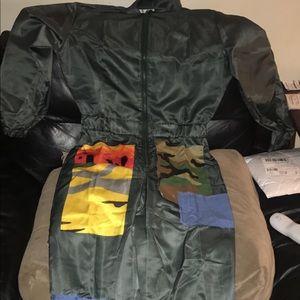 Euramerican patch work one- piece Jumpsuit